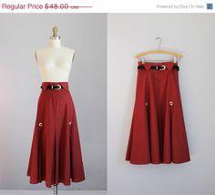 ON SALE vintage rust high waisted mid length skirt by secretlake