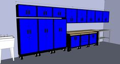 Custom Blue Metal Cabinets drawn in 3D to fit your garage