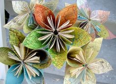 Recycled Newspaper Flowers bouquet
