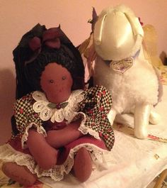 'Worthy' (is the Lamb) & Nellie Jewel...two of my early (1990!) attempts at 'toy' making!!!