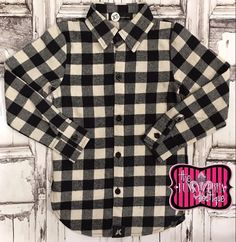 Flannel Plaid Button Up Shirt for Girls Black/White Size 4-12