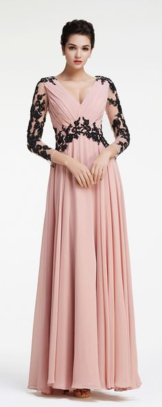 Modest prom dress with long sleeves dusty rose pageant dresses with black lace evening dresses