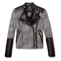 Vince Camuto Tweed & Faux Leather Moto Jacket Medium ($179) found on Polyvore