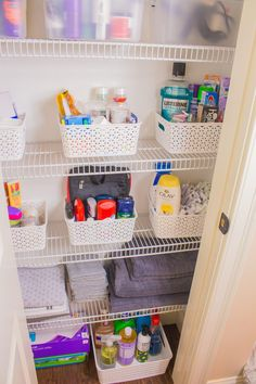 How to Organize The Bathroom Linen Closet | Hey Its Camille Grey #bathroom #linen #closet #organization #organize