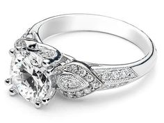 Diamond Engagement Ring Pave Pear Side Stones