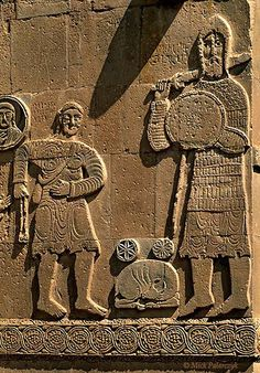 David is about to launch a stone with his sling towards his opponent Goliath on the southern facade of the 10th century Armenian Cathedral of the Holy Cross on Akdamar