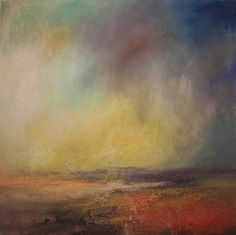 """""""Setting Sun, Across the Longshaw Estate"""" by Kristan Baggaley - Mixed Media on Canvas"""
