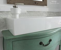 Kohler Bol Faucet & slimline Lillangen ikea sink :  on vintage  console Narrow Half Bathroom Reveal {1910 Home Renovation}