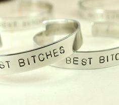 "TWO- 3/8"" Best Bitches Bracelets / Best Friend Jewelry / Handstamped Cuff on Etsy, $40.00"
