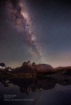 Dark light Milky way at Torres Del Paine, Chile. Milky Way Photography, In Patagonia, Beautiful Nature Scenes, Shutter Speed, Night Skies, Light In The Dark, Northern Lights, Clouds, Sky