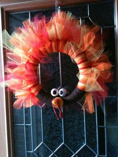 DIY Tulle Turkey Wreath For The Front Door Great Thanksgiving Decorations