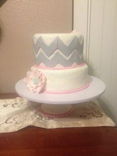 Chevron babyshower cake