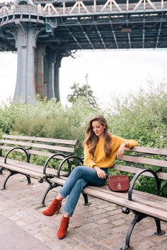 """Gal Meets Glam Sweater Weather - Sezane sweater, Jeans & Booties, Mulberry bag, Chanel lip stain in """"Soft Rose"""" & Michael Kors watch c/o Warm Outfits, Fall Winter Outfits, Autumn Winter Fashion, Fall Fashion, Winter Style, Sweaters And Jeans, Fall Sweaters, Look Jean, Yellow Clothes"""