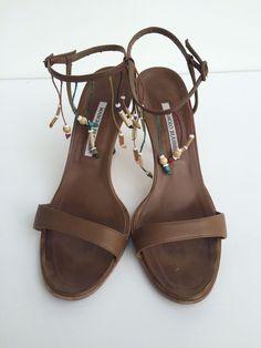 Manolo Blahnik Tan Strappy Sandal Wooden Beads and Heel Size 9 5 | eBay
