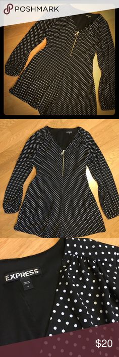 """Express Black & White Polkadot Romper, CUTE! Super cute romper from Express.  Size 6.  Black w/white polka dots.  Cute ruche detail at shoulders, body has inner lining (not sleeves).  Fashion zipper in front (functional) & also hidden zipper in back (goes about 2/3 of the way down the back) for easy dressing.  Slinky polyester fabric.  Cute, short little romper (less than 2.5 inch """"inseam"""" so to speak.  Just adorable. Express Other"""