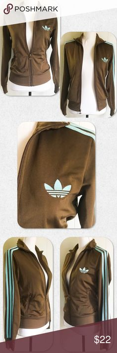 """Adidas 3 Stripe Zip Up Vintage Classic Jacket Classic track jacket design has an iconic athletic look, with a full-zip front to block out the chill. Shiny tricot material made of 100% Polyester means you can feel good while you look good in this chic original. Semi fitted. Gently worn but looks great!   Size S. Fits a 4/6. Bust is 33-35"""", Waist is 25""""-27"""", Hip is 35""""-37"""". adidas Jackets & Coats"""