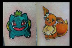 My friend and I decided to get pokemon tattoos before she moved to Paris this summer. She got Bulbasaur, and I chose Eevee. :) Both done by Marco at Permanent Skin Art in Saint Paul, MN.