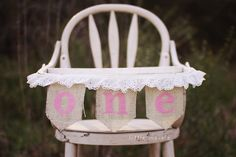 ONE Burlap High Chair Banner for Birthday or Cake-Smash. $25.00, via Etsy.