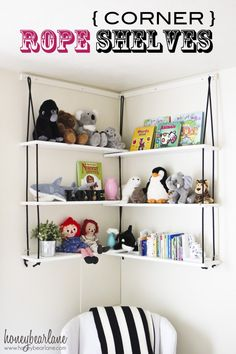 Rope Shelves DIY We bet these DIY corner rope shelves would work well in a living room, too!We bet these DIY corner rope shelves would work well in a living room, too! Decorating Your Home, Diy Home Decor, Room Decor, Decorating Ideas, Diy Corner Shelf, Stuffed Animal Storage, Stuffed Animals, Stuffed Toy, Rope Shelves