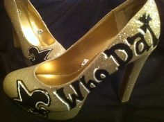 For the hott (tssss) Who Dats ;)    Who Dat Fleur de Lis Shoes by #NolaBites on Etsy, $65.00