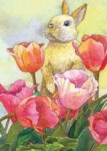 Toland Home Garden Bunny Tulip x 18 Inch Decorative Spring Easter Cute Rabbit Flower Garden Flag Title: Toland Home Garden Bunny Tulip Easter Garden, Tulips Garden, Somebunny Loves You, Tulip Painting, Bunny Painting, Watercolor Paintings, Bunny Art, Bunny Pics, Bunny Images
