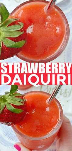 This is hands down the best recipe for making a Strawberry Daiquiri at home - these daiquiris have an intense and pure strawberry flavor - no Sprite! Strawberry Daiquiri Recipe, Strawberry Cocktails, Frozen Cocktails, Easy Cocktails, Cocktail Recipes, Fancy Drinks, Frozen Drink Recipes, Alcohol Drink Recipes, Recipe For Mom