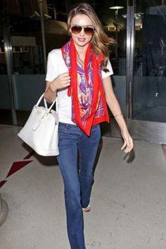 Miranda Kerr, everyday style. Jeans, silk scarf, basic tee