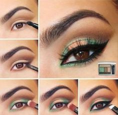 Peach and Green Eye Makeup Tutorial for Brown Eyes by agnes
