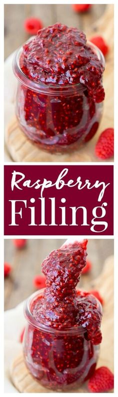 This Easy Raspberry Filling recipe takes just four ingredients and 20 minutes to make! It's the perfect addition to cakes and pastries! via @sugarandsoulco