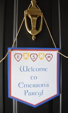 Medieval Knight Birthday Door Banner by AnyGoodIdeas on Etsy, $6.00  Make banners for each station & classroom.  Also need doubles of classroom banners for sanctuary seating.