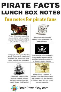 Ahoy! Grab ye some Pirate Facts Lunch Box Notes to put in your buccaneer's lunch box. They all have neat pirate tidbits. Click the picture for your free printable lunch box notes today.