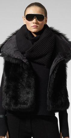 Ralph Lauren: black on black layering.