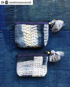 denim boro coin purse