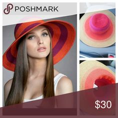 """Nine West Summer  hat Nine West packable hat nwt pink,orange, blue, green tan  Circumference approx 23.5"""" Brim approx 52.5"""" The  photo of the model is a stock photo and not the exact hat.  Before you purchase, please let me know which one you would like. Nine West Accessories Hats"""