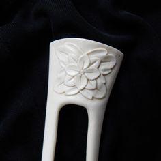 Hair Fork Hair stick floral bone carving by mariya4woodcarving