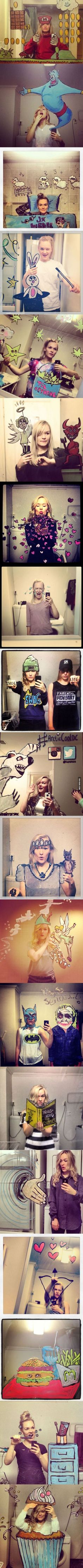 This girl takes her selfies to the next level. Great ideas for taking selfies.