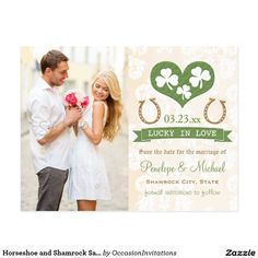 Horseshoe and Shamrock Save the Date Postcard A St. Patrick's Day themed shamrock save the date postcard with a green heart with white shamrocks inside of it, gold look lucky horse shoes and a customizable banner that says Lucky In Love. A cream and white parchment look background with a subtle damask lace look pattern makes this Irish theme save the date pretty and elegant. These STDs are perfect for a March wedding or anniversary. Add a special message for your guests on the back of these…