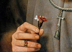 detail of Man with pinks by Jan van Eyck- Tumblr