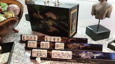 ELABORATE & RARE MAHJONG SET ~ FULLY CARVED BOVINE /BAMBOO TILES, LACQUER BOX