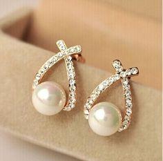 Nettes einkaufen!! 2016 mode Gold Kristall Ohrstecker Brincos Perle Pendientes Bou Perle Ohrringe Für Frau E130