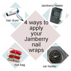 You can use a variety of heat sources to apply your Jamberry nail wraps. You can choose from a hair dryer, mini rice bags, a cars heater or, of course, Jamberry's heater. Any of these options will provide you with the heat you need to apply your favorite Jamberry nail wraps.
