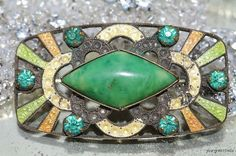 Vintage 1930s, Art Deco Jugendstil Enamel & Czech Glass Brooch Pin