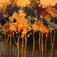 "CAROL NELSON FINE ART BLOG: Abstract Landscape Tree Art Painting ""Twilight Poem"" by Colorado Mixed Media Abstract Artist Carol Nelson"