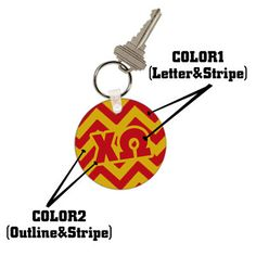 Sorority Chevron Stripe Keychain | For Any Greek Organization, in Any Colors Listed | Sorority and Fraternity Gear | Custom | Something Greek #ChiOmega