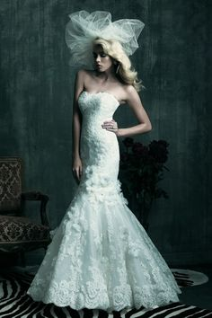 Mermaid Sweetheart Lace Princess Waist Court Wedding Dress w/ Blooms & Appliques