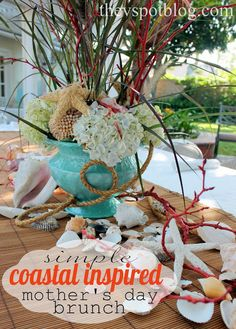 Coastal-inspired Mother's Day Brunch tablescape.