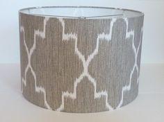 Medium Drum Lamp shade in Ikat geometric grey by LampShadeDesigns