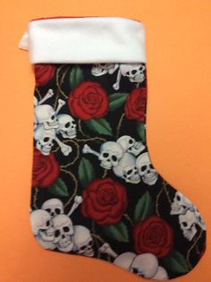 Handmade Christmas Stocking  Skull and Roses  by LunasGiftShoppe