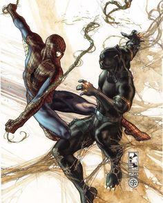 Spider vs Panther @simonebianchiart Download at nomoremutants-com.tumblr.com…