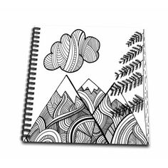 drawing doodles sketches Black and White Zentangle Patterned Mountain Scene - Mini Notepad, 4 by - Sharpie Drawings, Sharpie Doodles, Sharpie Art, Zentangle Drawings, Doodle Drawings, Easy Drawings, Drawing Sketches, Doodle Art, Dna Drawing